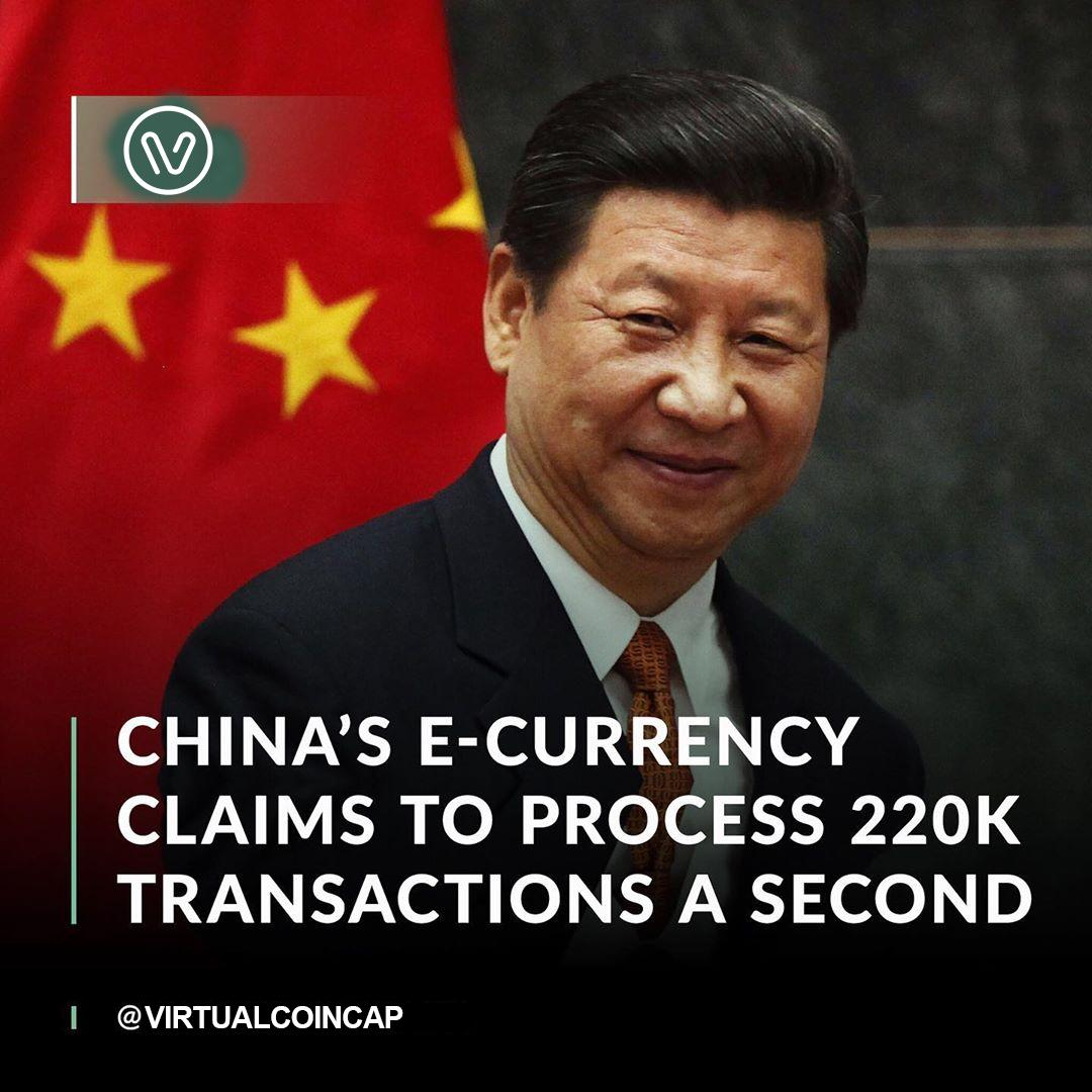 China's E-currency Claims To Process 220k Transactions A Second - VirtualCoinCap